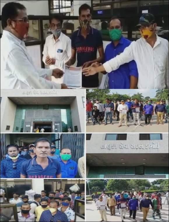 કચ્છના વકીલની હત્યા અને હાથરસ ગેંગરેપ મામલે  ડભોઈ સ્વયં સૈનિક દળ દ્વારા મામલતદારને આવેદન
