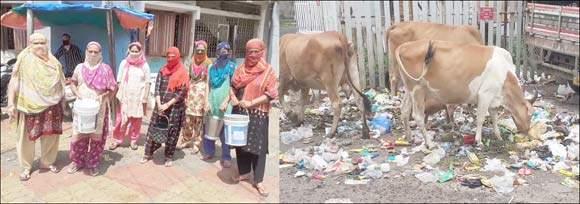 રાજપીપળા રેડ ઝોન વિસ્તારોમાં ગંદકીનું સામ્રાજ્ય: પાલિકા કર્મચારીઓની હડતાળથી પાણી માટે વલખાં