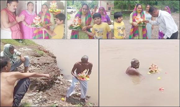 રાજપીપળા શહેર સહિત નર્મદા માં આનંદચૌદ ના દિવસે નિયમોનુસાર ગણેશજી ની નાની પ્રતિમાઓનું વિસર્જન