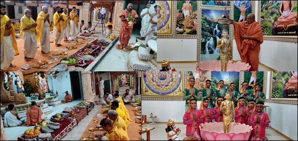 આસોમાસની શુદિ હરિનૌમિના દિને મેમનગર ગુરુકુલ ખાતે  શ્રી ઘનશ્યામ મહારાજનું ષોડશોપચાર -- રાજોપચાર પૂજન